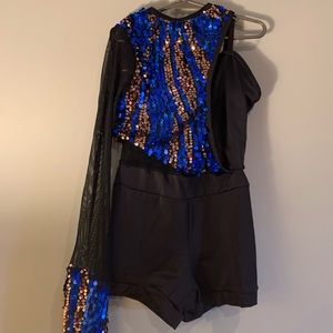 Weissman Blue & Silver Sequin Acro Costume